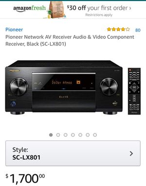 Pioneer Network AV Receiver Audio & Video Component Receiver, Black (SC-LX801) for Sale in Dallas, TX