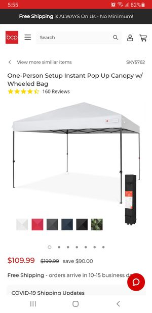 Easy pop up 10 x 10 tent canopy white for Sale in Roselle Park, NJ