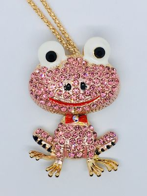 Betsey Johnson Pink Crystal Frog Necklace/Pendant for Sale in Minneola, FL