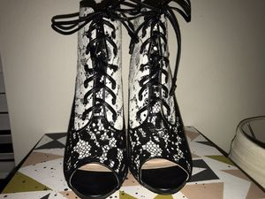 Black and white open toe booty heels for Sale in Naperville, IL