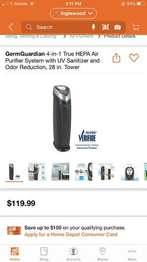 Air purifier, 4 in 1 Hepa air purifier , Uv sanitizer , odor reduction. for Sale in Cerritos, CA