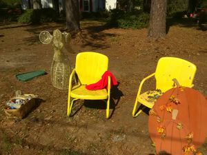Metal yard chairs yellow for Sale in Spartanburg, SC