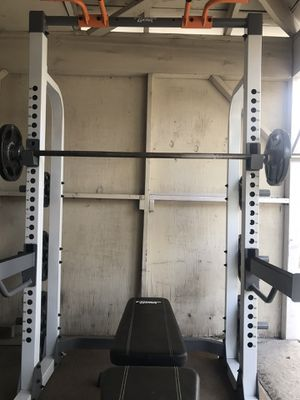 Olympic squat rack bench press weights set. for Sale in Temple City, CA