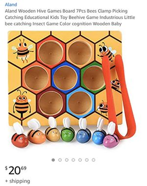 Aland Wooden Hive Games Board 7Pcs Bees Clamp Picking Catching Educati for Sale in Alhambra, CA