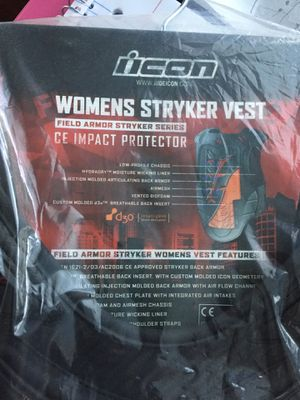 IIcon field armor. Motorcycle vest with spine back armor protector for Sale in Vista, CA