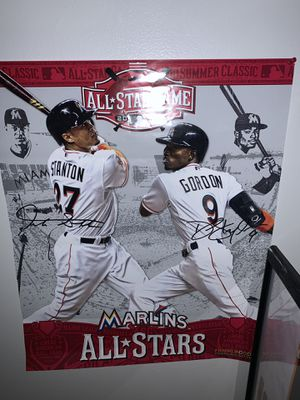 Giancarlo Stanton and Dee Gordon Autographed Poster for Sale in Boca Raton, FL