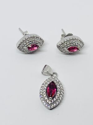 Sterling Silver 925 Women Earrings Charm - Set of Pendant and Studs White and Pink Cubic Zirconia - Set de Aretes y Dije for Sale in Houston, TX