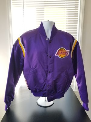 Vintage Purple Satin Starter Los Angeles Lakers Jacket Size Large Fits Smaller for Sale in Los Angeles, CA