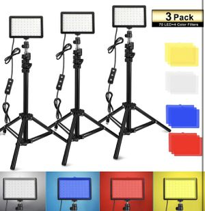 3 Packs 70 LED Video Light with Adjustable Tripod Stand/Color Filters for Sale in Los Angeles, CA