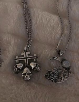 Sterling silver cross and skull necklace available wolf moonstone (SOLD) for Sale in Las Vegas, NV