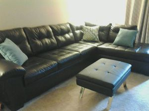 Leather L-Section couch with Leather Ottoman for Sale in Erie, PA