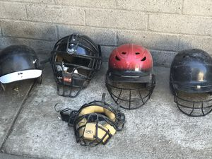 Baseball softball equipment. Helmets and bats. Take 1 piece or everything for a great deal. for Sale in El Monte, CA