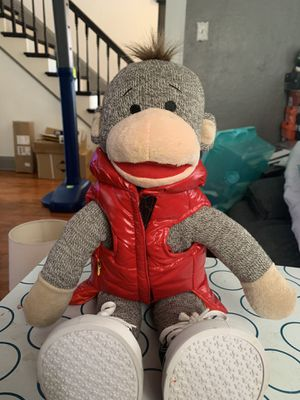 Build a bear workshop sock monkey with clothing and cotton stuffer machine for Sale in Scotchtown, NY
