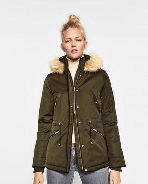 Zara Small Army Green Olive Parka fur hood Womens for Sale in Everett, WA