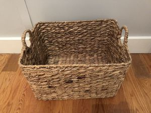 Woven wicker basket with handles for Sale in New York, NY