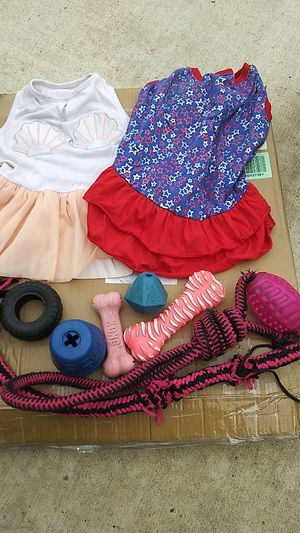 2 medium sized dog outfits, and miscellaneous dog toys for Sale in Upland, CA
