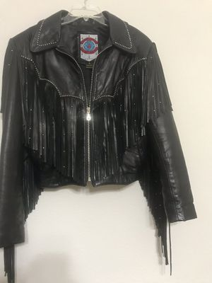 Leather jacket with fringe for Sale in Oviedo, FL