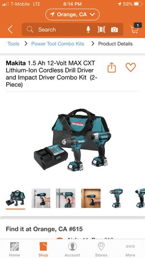Makita 1.5 Ah 12-Volt MAX CXT Lithium-Ion Cordless Drill Driver and Impact Driver Combo Kit (2-Piece) for Sale in Anaheim, CA