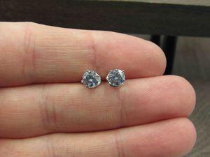 Sterling Silver Small Cubic Zirconia Diamond Stud Earrings Vintage Wedding Engagement Anniversary Beautiful Everyday Minimalist Cute Cool for Sale in Lynnwood, WA