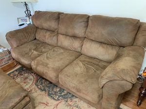 3 piece brown leather suede couch / loveseat / chair / ottoman for Sale in Chantilly, VA