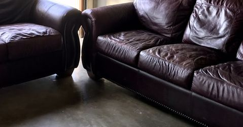 Mahogany Leather Sofa & Love Seat for Sale in Fountain Valley,  CA