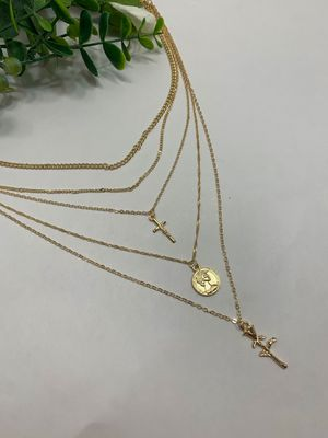 Rose Flower Cross Round Chain Pendant Multilayer Necklace for Sale in Tustin, CA