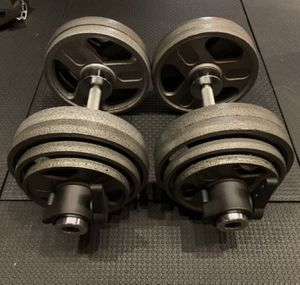 55lbs Olympic adjustable dumbbell weight set total 110LB (Brand New!) 🏋️‍♀️🤸‍♂️👍 for Sale in Huntington Beach, CA