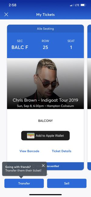 Chris Brown Indigoat Tour tickets 2 for Sale in Richmond, VA