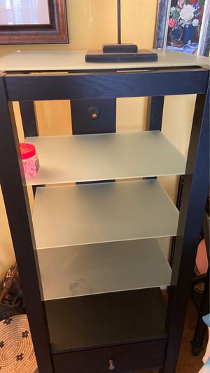 Black Curio Cabinet w/frosted shelves for Sale in Silver Spring, MD