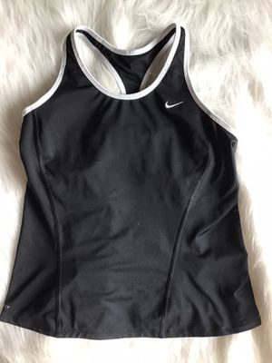 Nike women's dri fit athletic tank top racer back black size L built in bra for Sale in Ooltewah, TN