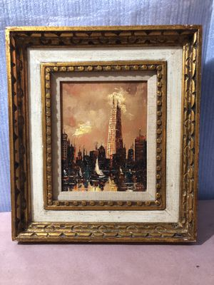 "heavy oil painting on canvas panel ,17""x 15"",beautiful golden frame,vintage, no signature, for Sale in Aurora, IL"