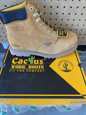 Cactus leather work boots with steel toe for Sale in San Leandro, CA