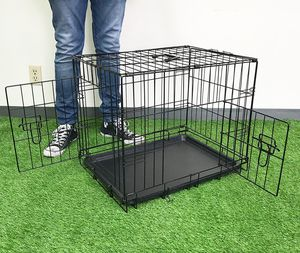"""New $25 Folding 24"""" Dog Cage 2-Door Folding Pet Crate Kennel w/ Tray 24""""x17""""x19"""" for Sale in South El Monte, CA"""