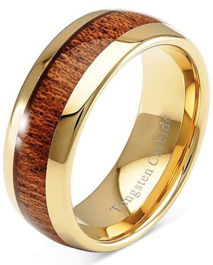 NEW Men's Gold Tungsten Carbide Ring Wood Inlay for Wedding Anniversary for Sale in Fresno, CA