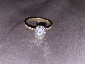 7x9mm FB C&C Moissanite Engagement Ring and Wedding Band 14K Yellow Gold for Sale in City of Industry, CA