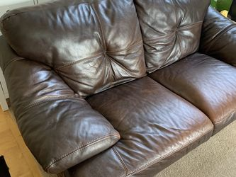 Leather Loveseat Couch And Black Recliner Chair for Sale in Tualatin,  OR