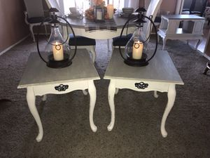 Firm on price. Light gray soft white farmhouse chic set end tables for Sale in Menifee, CA