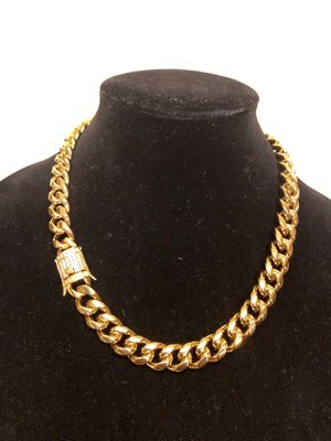 "20"" gold Cuban link 18k plated chain 14mm with CZ clasp will never fade or tarnish for Sale in San Diego, CA"