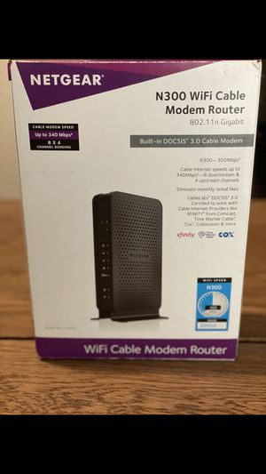 NETGEAR N300 WiFi Cable Modem Router for Sale in Bellevue, WA
