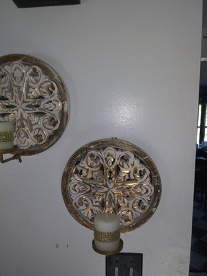 2 GOLD/WHITE MIRRORED CANDLE HOLDERS for Sale in North Aurora, IL