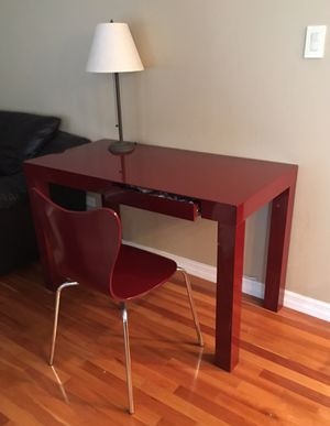 Super cute red office desk with matching chair. Great for small spaces. Originally purchased at West Elm. Two drawer. for Sale in Willowbrook, IL