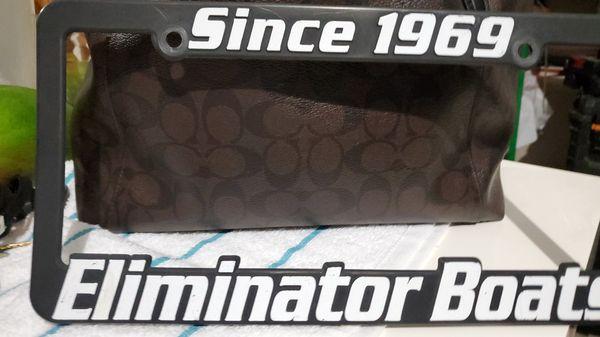 Eliminator Boats License Frame. NEW!