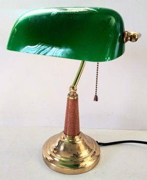 Banker's Desk Lamp Green Glass Portable Luminaire Brass and Wood Base for Sale in Garland, TX