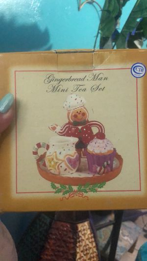"Christmas Gingerbread Man Mini Tea Set !!!Teapot Cream & Sugar 3"" for Sale in Pembroke Pines, FL"