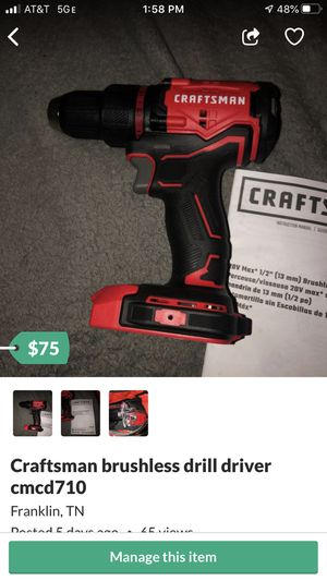 Craftsman brushless drill driver cmcd710 for Sale in Franklin, TN