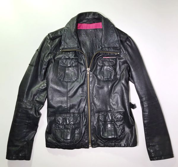 Superdry Ramona Women's Moto Zip Black Leather Jacket Size Large