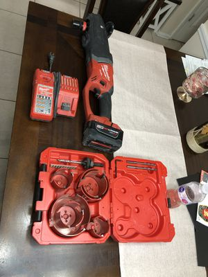 Milwaukee M18 SuperHawg with 9.0battery, Charger, and Big Haag Hole Saw Kit for Sale in Port Richey, FL