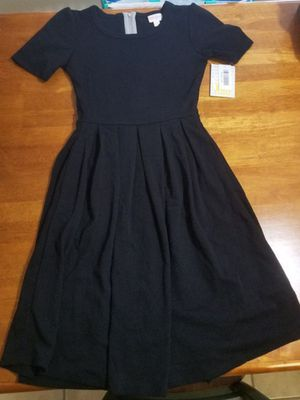 Lularoe XXS solid black Amelia dress new with tags chevron NWT little black dress unicorn for Sale in Spanaway, WA