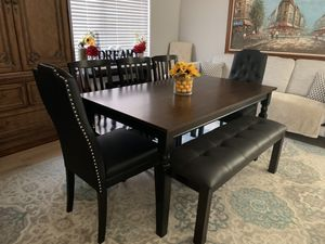 Modern farmhouse kitchen dining table with leather bench and 5 chairs (2 tufted nailed black leather captain chairs) seats 6 7 8 9 like new for Sale in Peoria, AZ