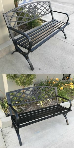 """Brand new in box 50"""" Long Patio Black Decent Garden Bench Steel Outdoor Chair 500 lbs Capacity for Sale in Pico Rivera, CA"""